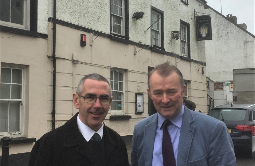 Simon Hart pictured with butcher Andrew Rees