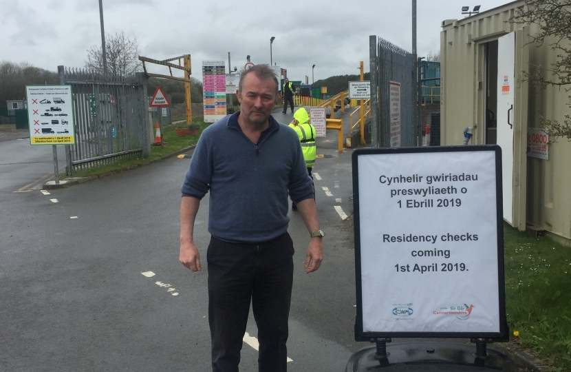 Simon Hart MP pictured at Whitland Recycling Centre which has introduced strict residency checks.