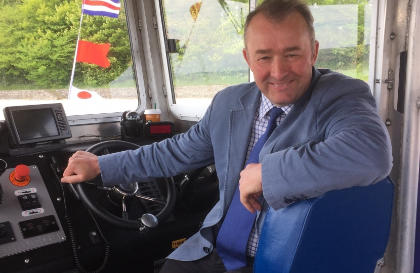 Simon Hart MP is pictured on board the new Glansteffan ferry which is linking Llansteffan and Ferryside for the first time in 60 years.